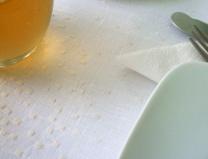 Mantel bordado en beige sobre lino